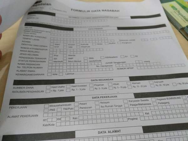 Form Data Nasabah