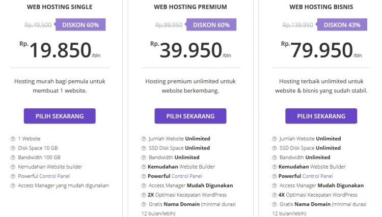 Paket Web Hosting Hostinger Indonesia